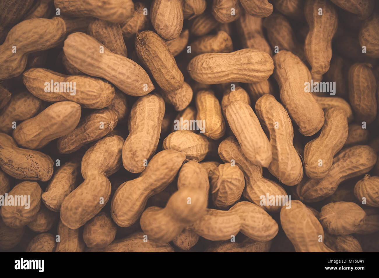 Peanuts background, tasty high-calorie nuts, monkey nuts in the nutshell, abstract groundnuts wallpaper - Stock Image