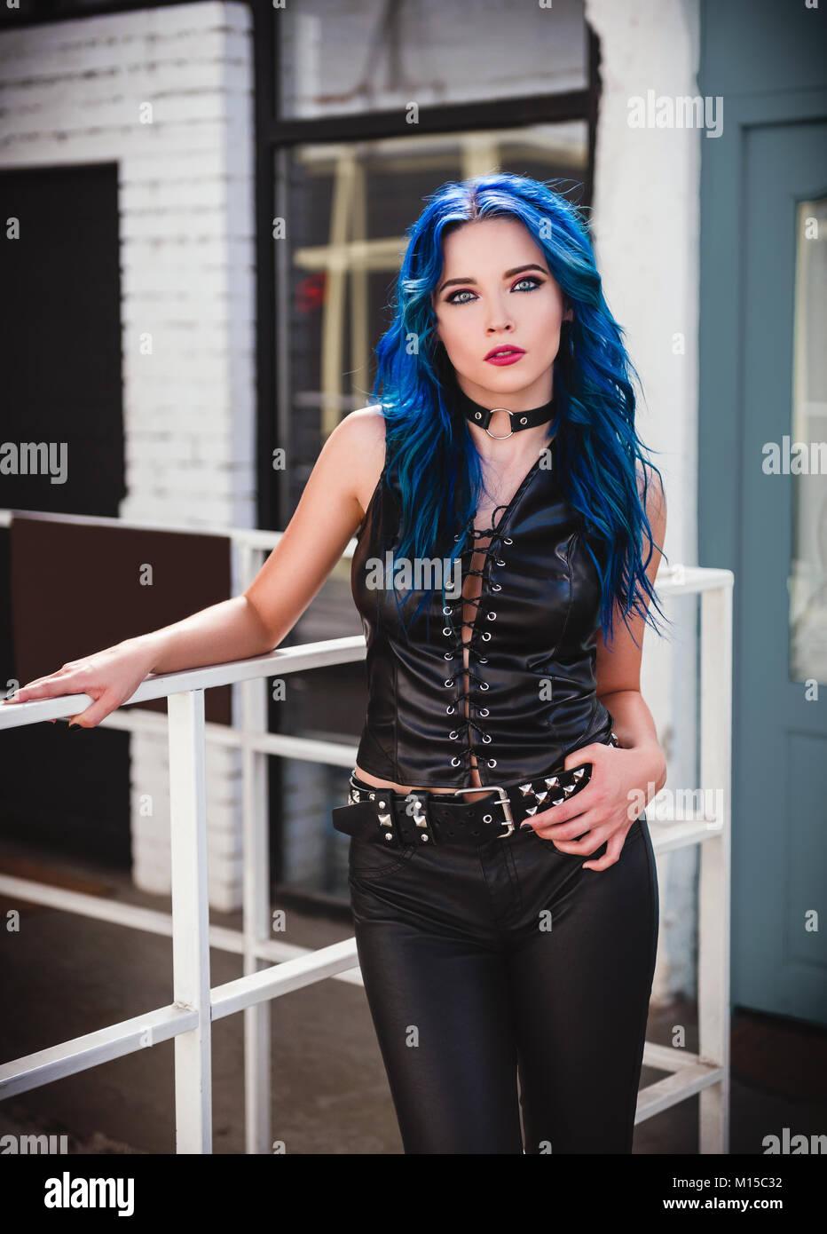 Cute Rock Girl Informal Model With Blue Hair Dressed In