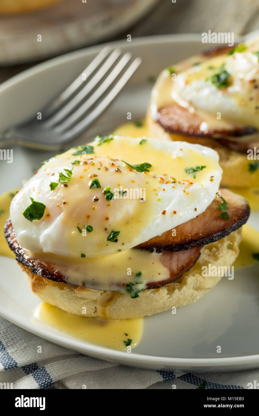 Homemade Eggs Benedict with Bacon and Hollandaise Sauce - Stock Image