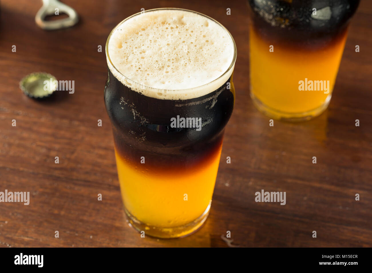 Irish Layered Black and Tan Beer with Lager and Stought - Stock Image