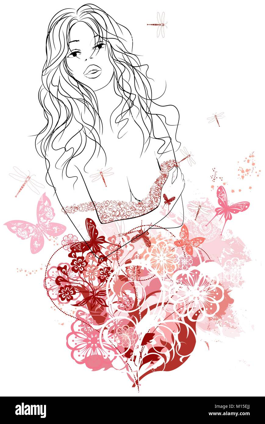 Vector Illustration Of A Woman Portrait In Grunge Floral Background