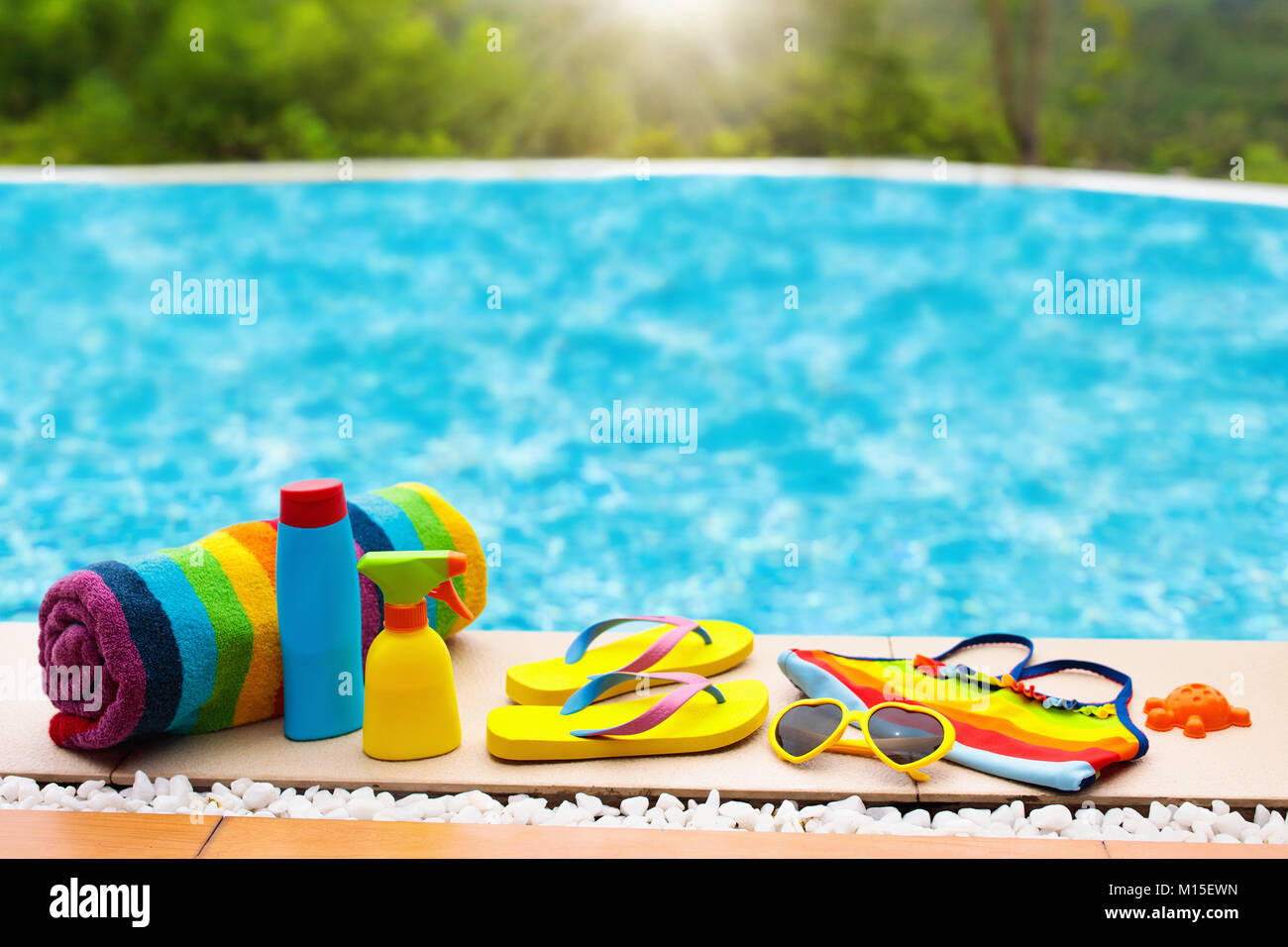 Swimming pool accessories flat lay. Top view of beach items ...