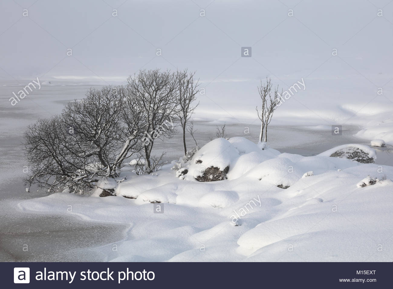 A snow covered Rannoch Moor looking over a frozen Lochan na h-achlaise Stock Photo