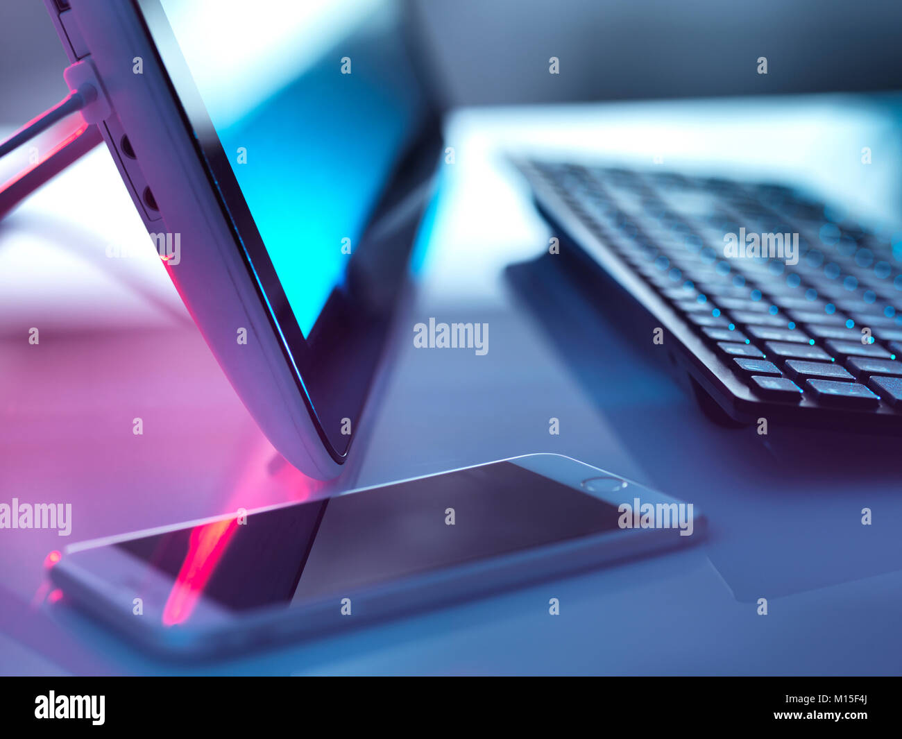 Computer hardware and smartphone. - Stock Image