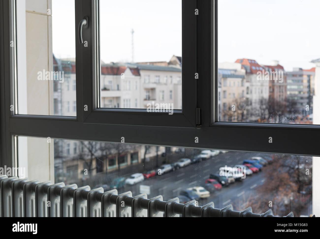 Heating Radiator Under Window Stock Photo Alamy