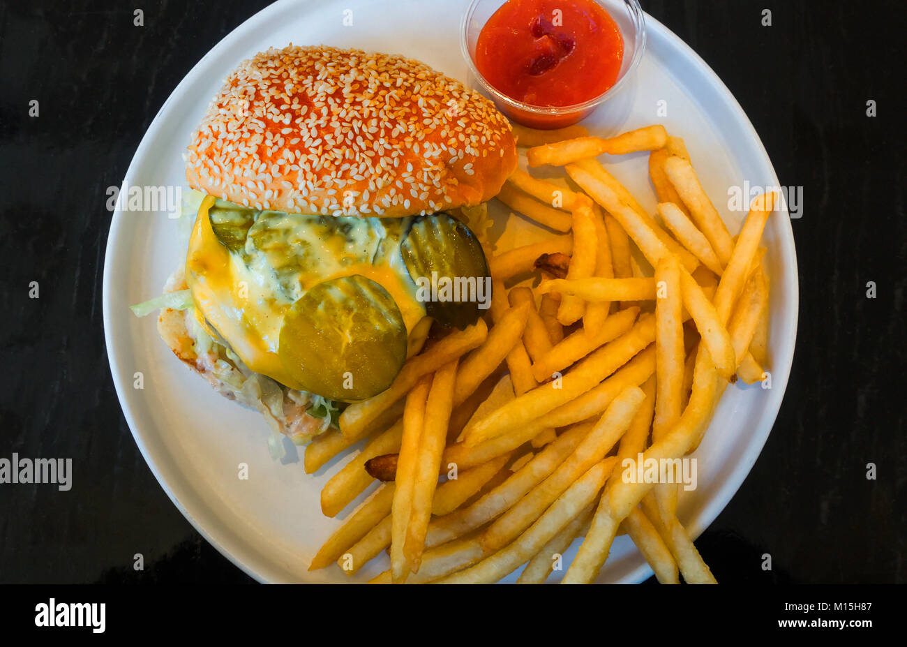 A burger and fries, the Supreme designed by Alvin Cailan for Chefs Club Counter in SoHo, New York City - Stock Image