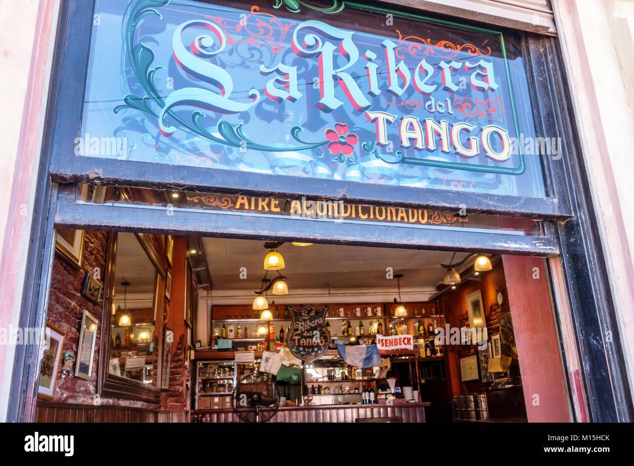 Buenos Aires Argentina Caminito Barrio de la Boca La Ribera Del Tango restaurant bar entrance sign Hispanic Argentinean - Stock Image