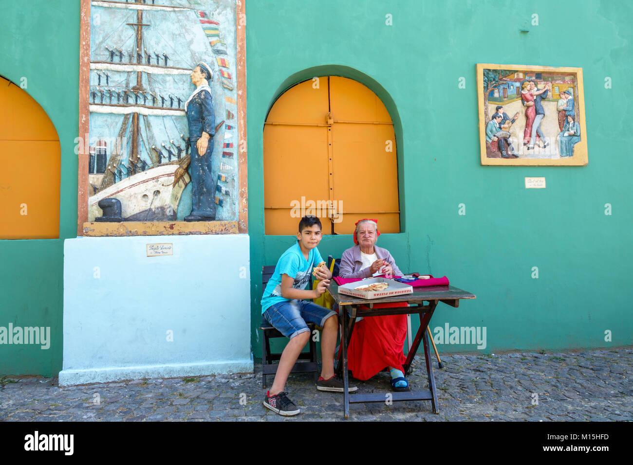 Buenos Aires Argentina Caminito Barrio de la Boca street museum immigrant neighborhood brightly painted buildings - Stock Image