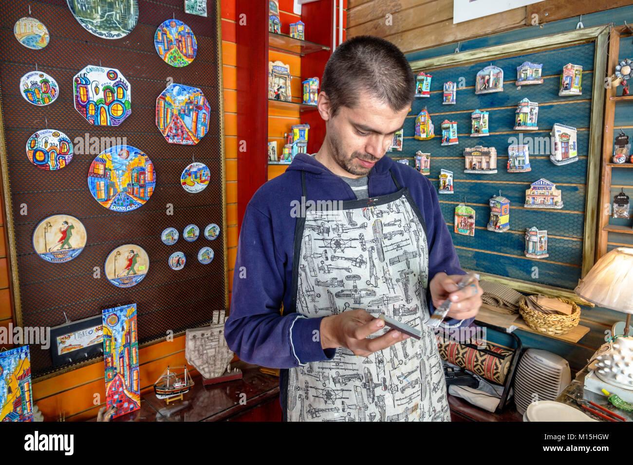 Buenos Aires Argentina Caminito Barrio de la Boca Patio Quinquela shopping arcade artisanal handicrafts souvenirs - Stock Image