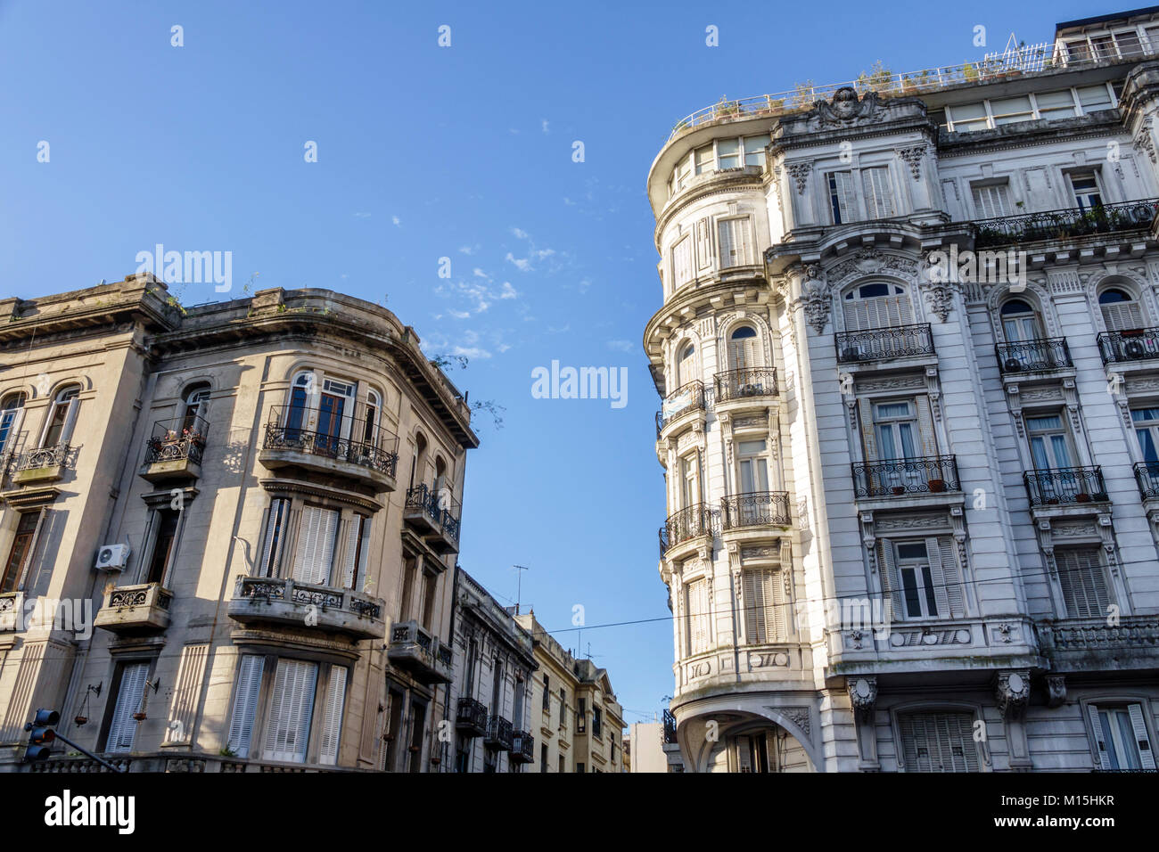 Buenos Aires Argentina San Telmo historic center architecture Belle Epoque rounded corner residential apartment - Stock Image