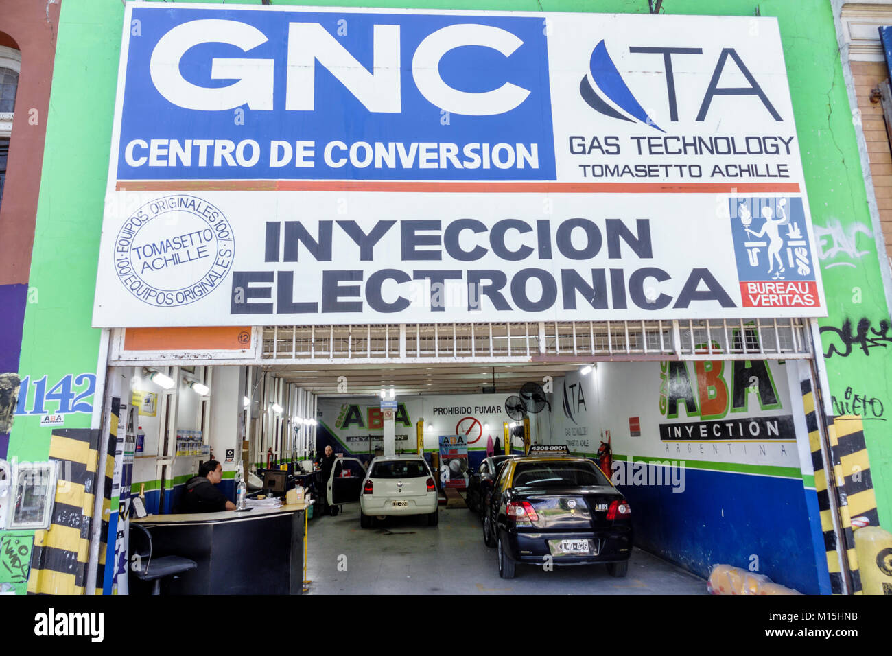 Buenos Aires Argentina San Telmo TA Gas Technology service garage conversion center GNC compressed natural gas GNV - Stock Image
