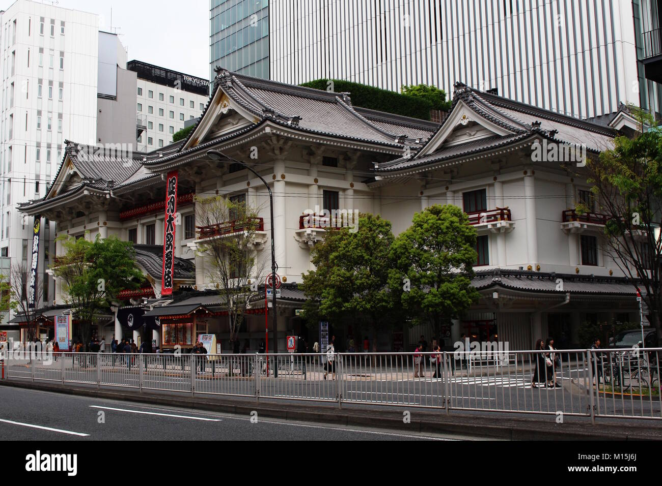 View of the Kabuki-Za, the main Kabuki theater in Tokyo and is located in Ginza. Photo taken April 2017. - Stock Image