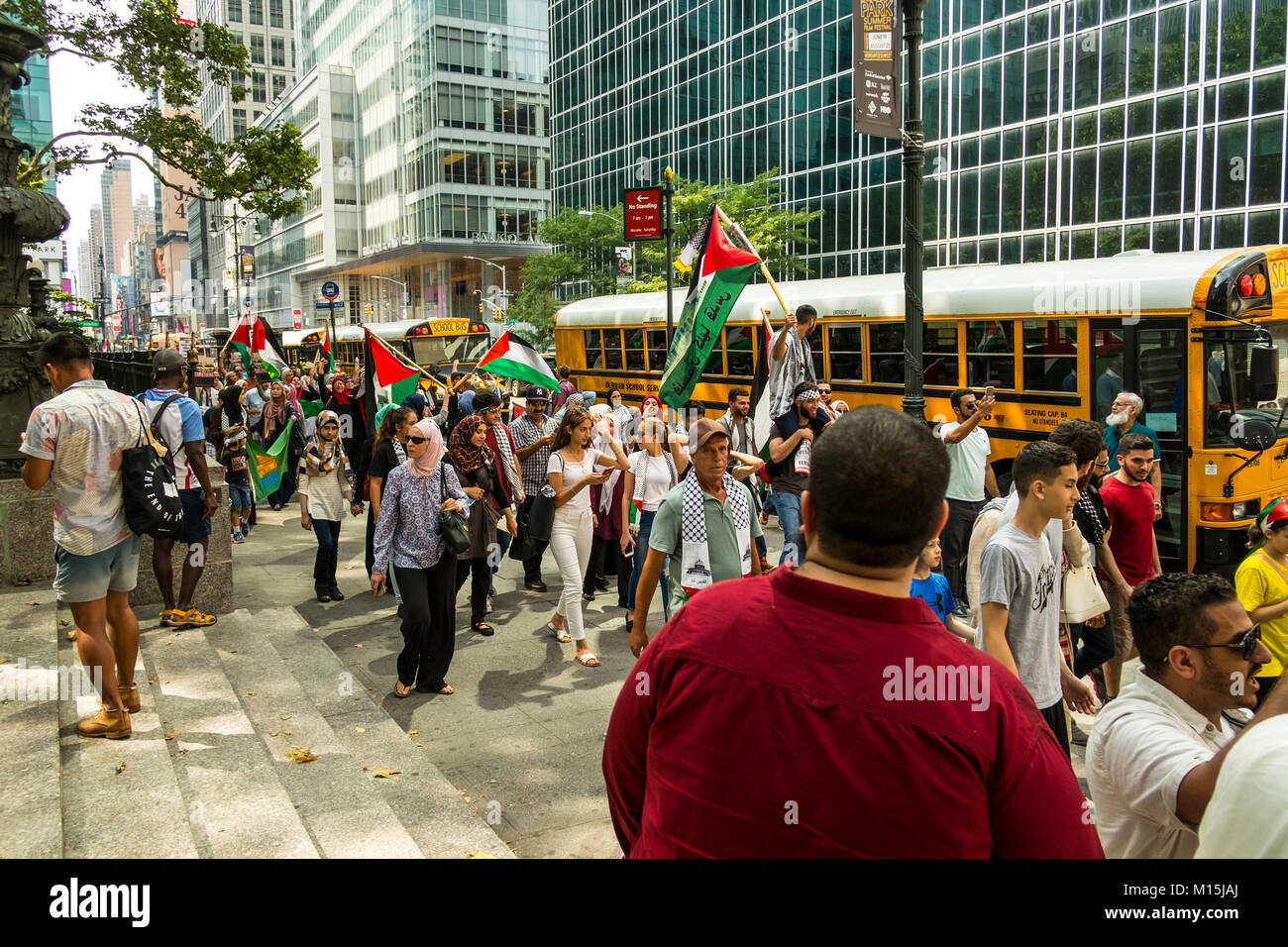 A 'Free Palestine' procession in Bryant Park, new York City - Stock Image
