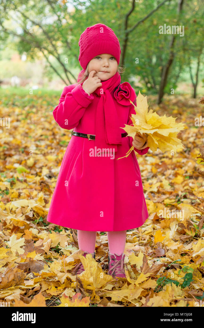 Girl in a pink coat collects yellow leaves in a park in autumn - Stock Image