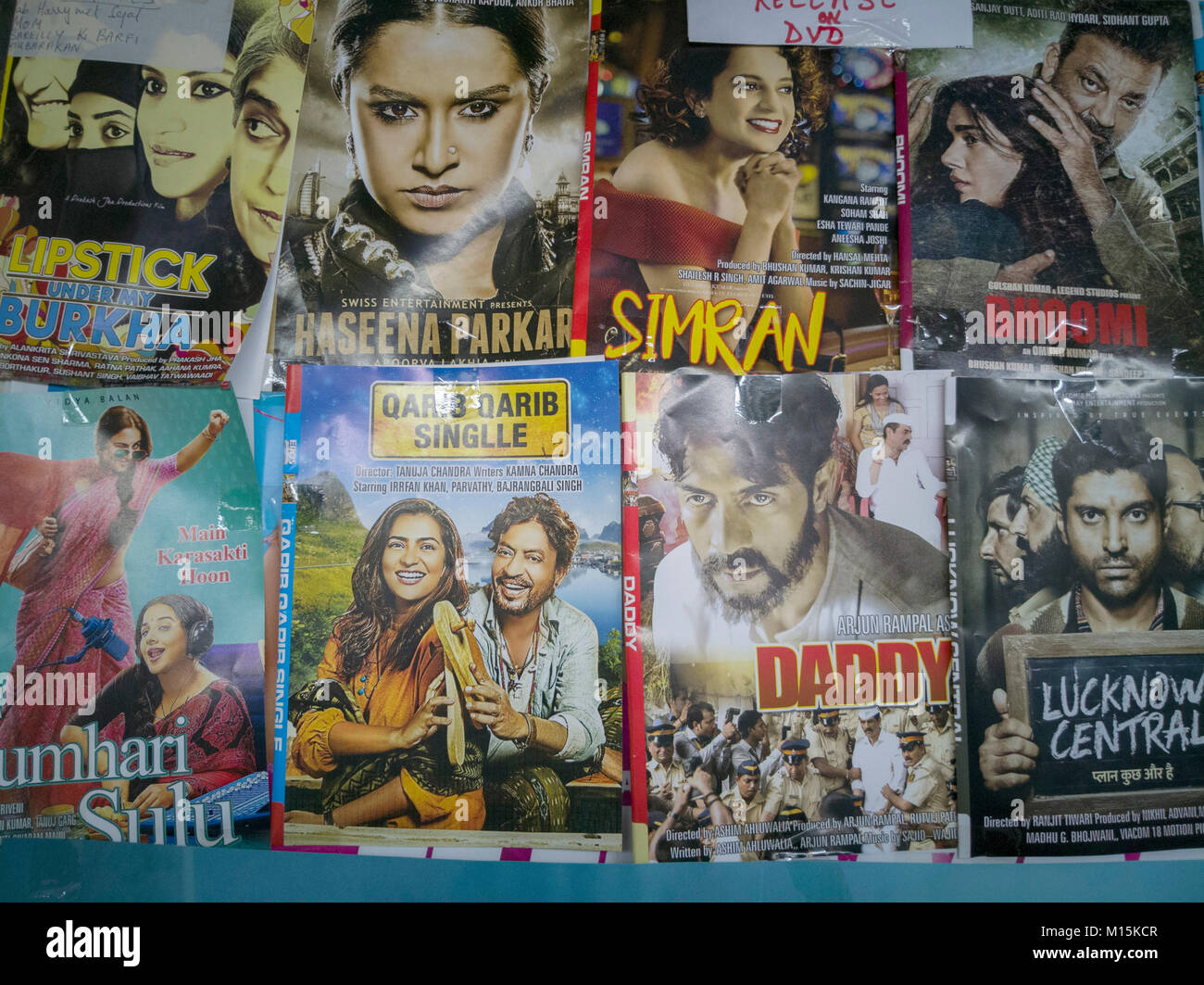 Bollywood movie DVDs for sale in Hong Kong market Stock Photo
