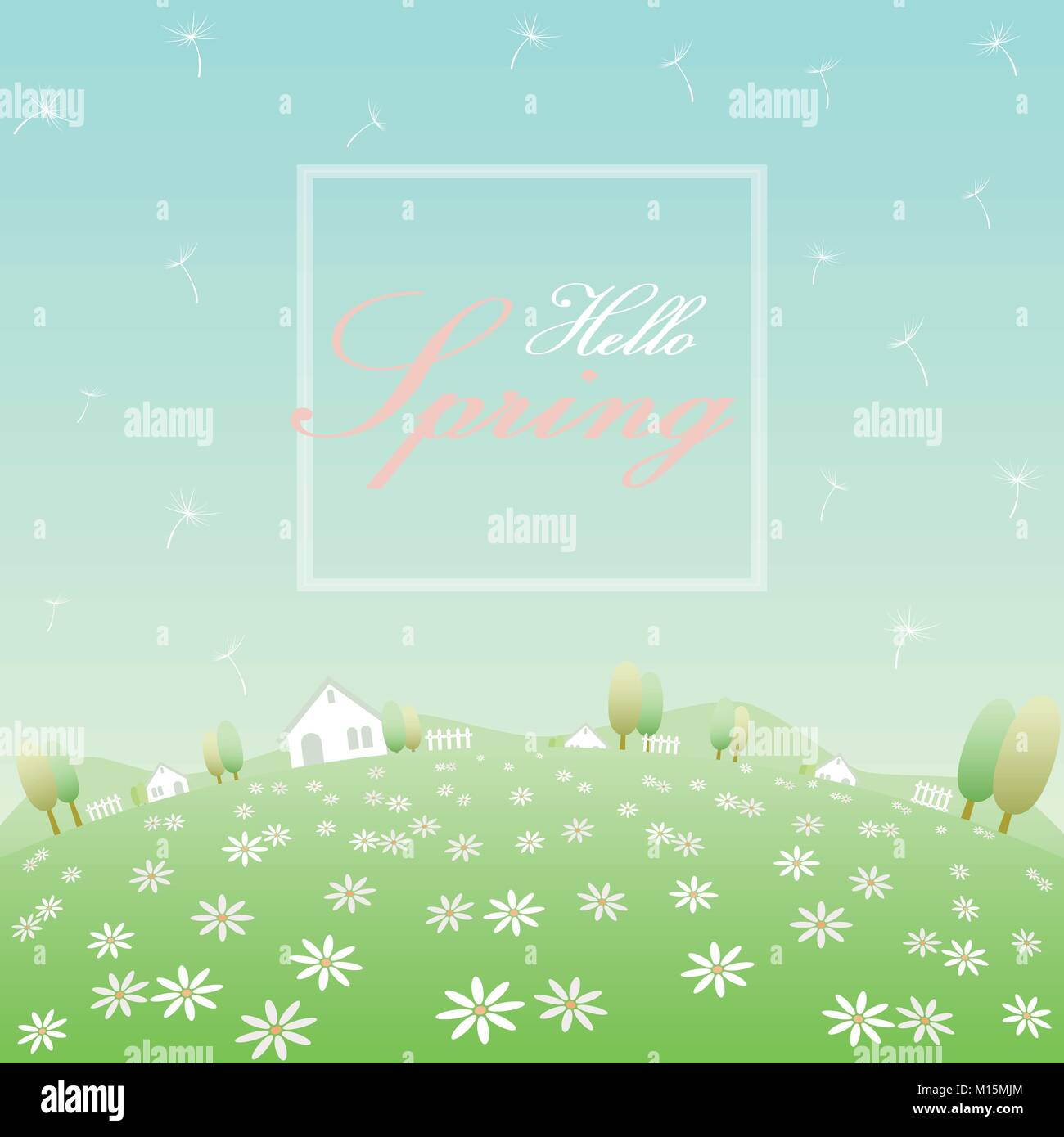 Hello spring text in white frame banner with background of rounded flowers field, white houses, fences, trees, hills, - Stock Vector