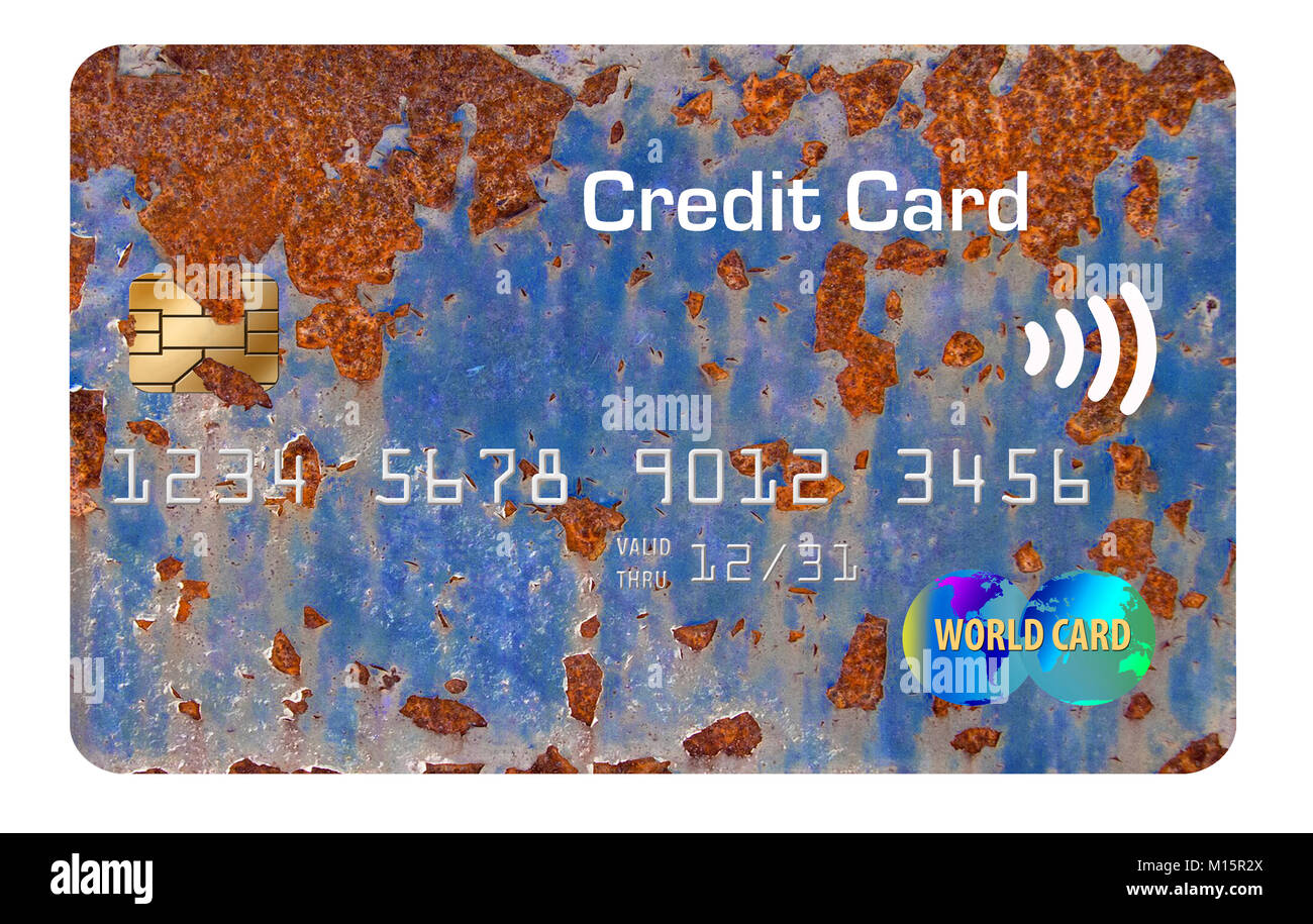 Old rusty, worn out credit card isolated on a white background - Stock Image