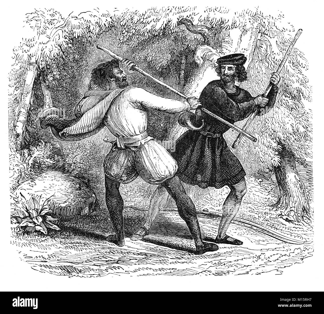Robin Hood and Little John fighting with staffs in 14th Century Sherwood Forest, in Nottinghamshire,  England. - Stock Image