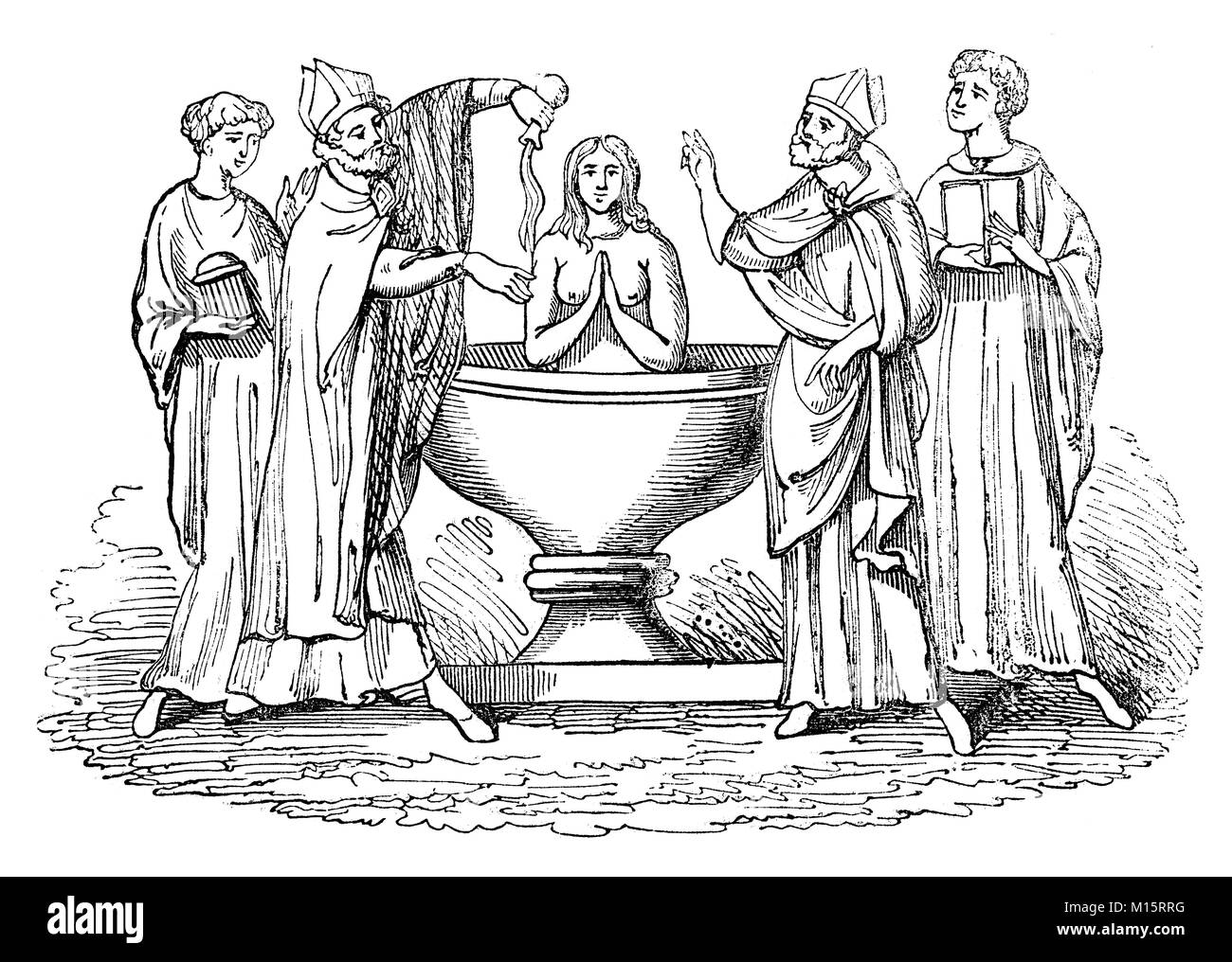 The baptism of Matilda, the mother of Thomas Becket in the early 12th Century. She was of Norman ancestry and lived - Stock Image