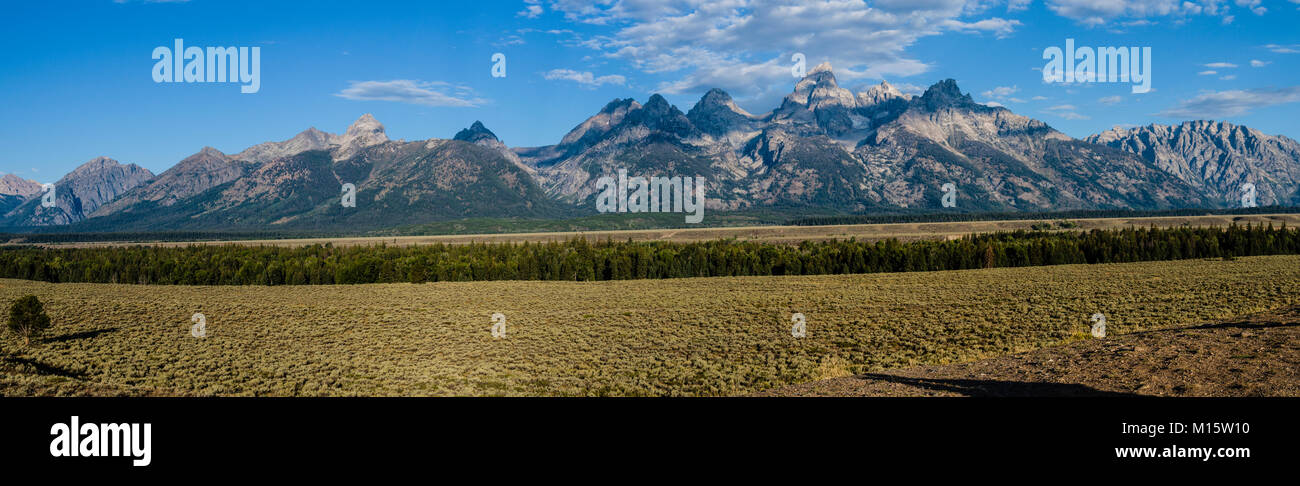 View of the Teton Mountains from Glacier View turnout.  Moose, Wyoming USA - Stock Image