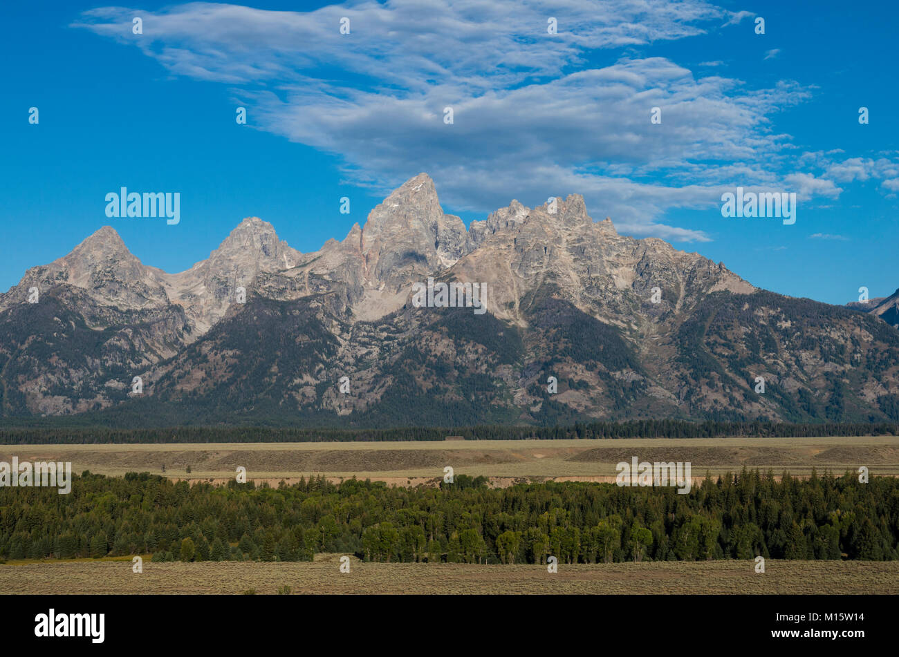 View of the Teton Mountains from Teton Point turnout.  Moose, Wyoming USA - Stock Image