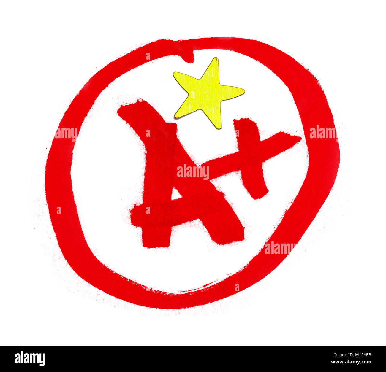 A Plus Grade with Star Sticker Isolated on White. - Stock Image