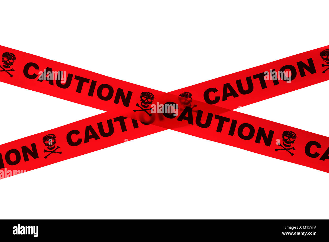 Red Cuation Tape With Skulls Isolated on White. Stock Photo
