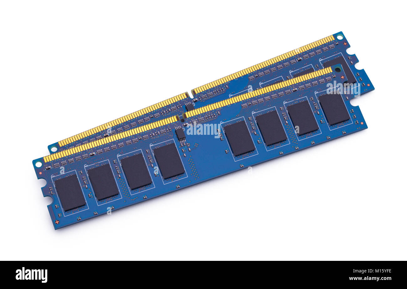 Blue Computer Memory Isolated on White Background. - Stock Image