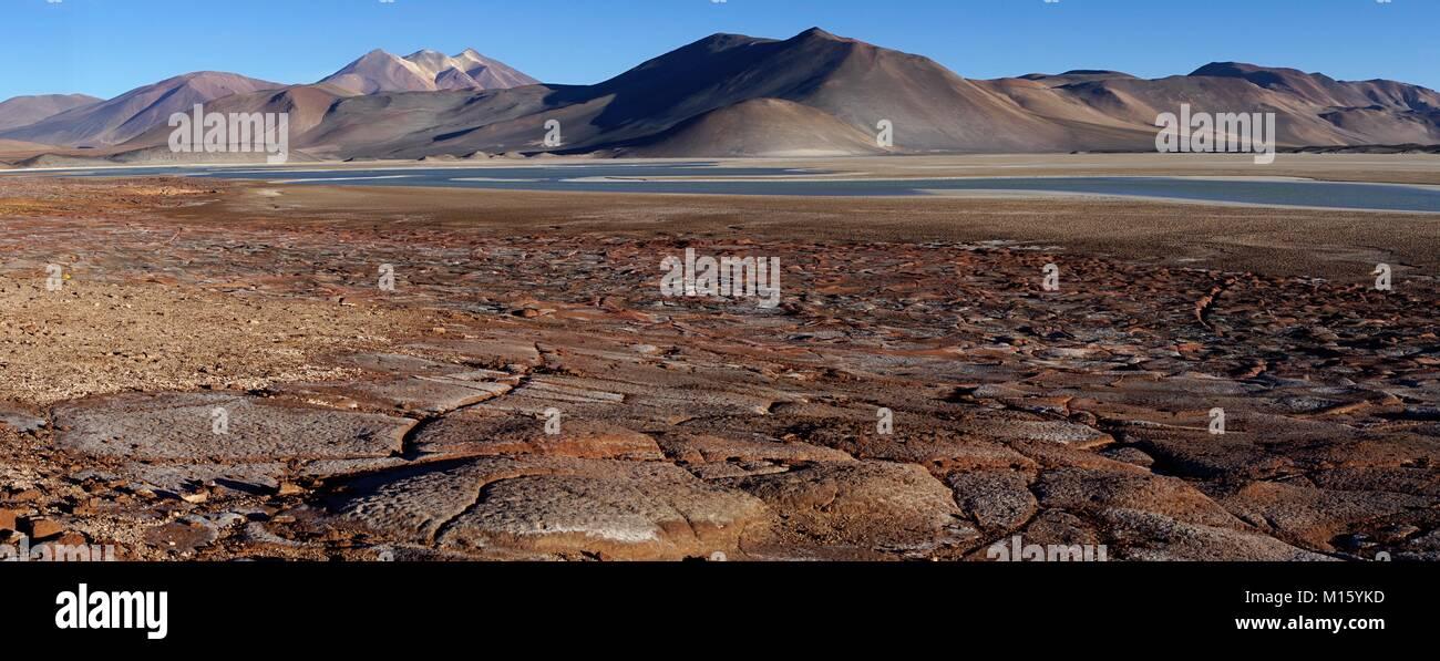 Lagune Salar de Talar mit den Bergen Cerros de Incahuasi,Paso de Sica,Antofagasta Region,Chile - Stock Image