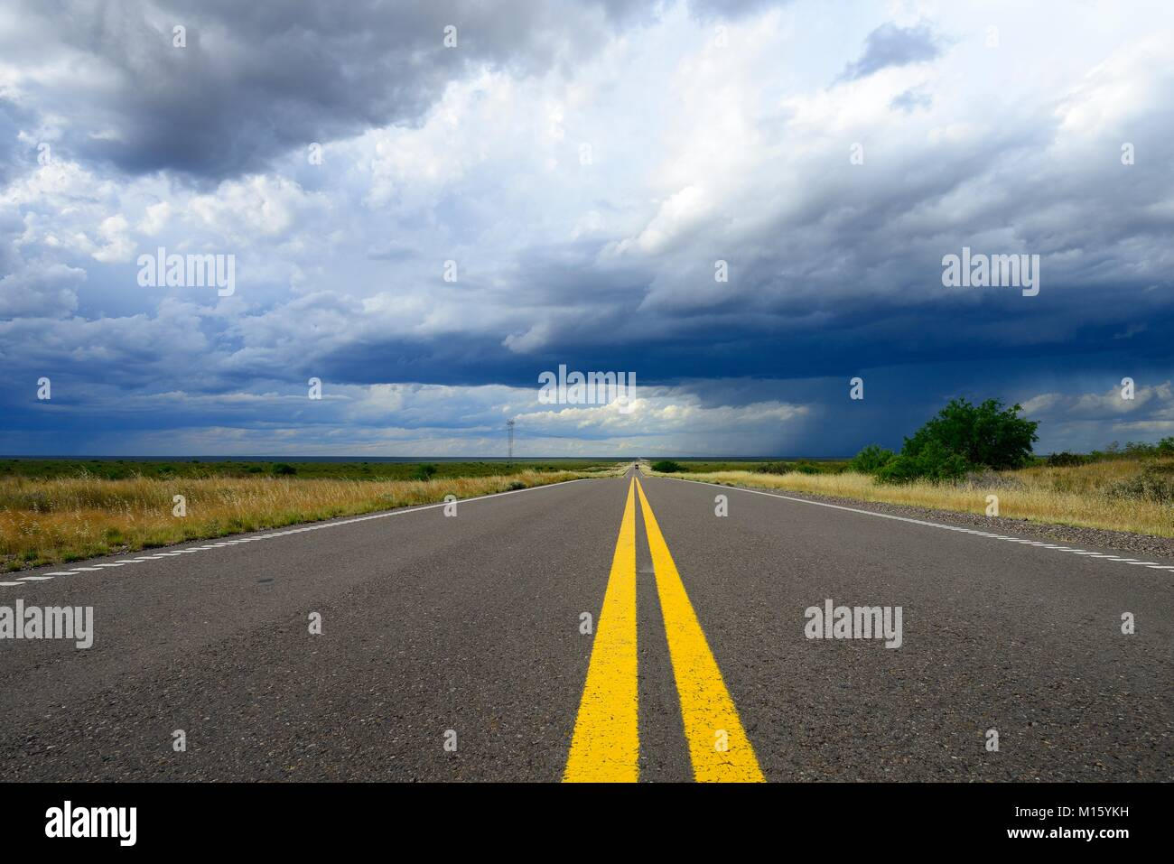 View over the asphalt of the Ruta RN35 with dark rain clouds,province of La Pampa,Patagonia,Argentina - Stock Image