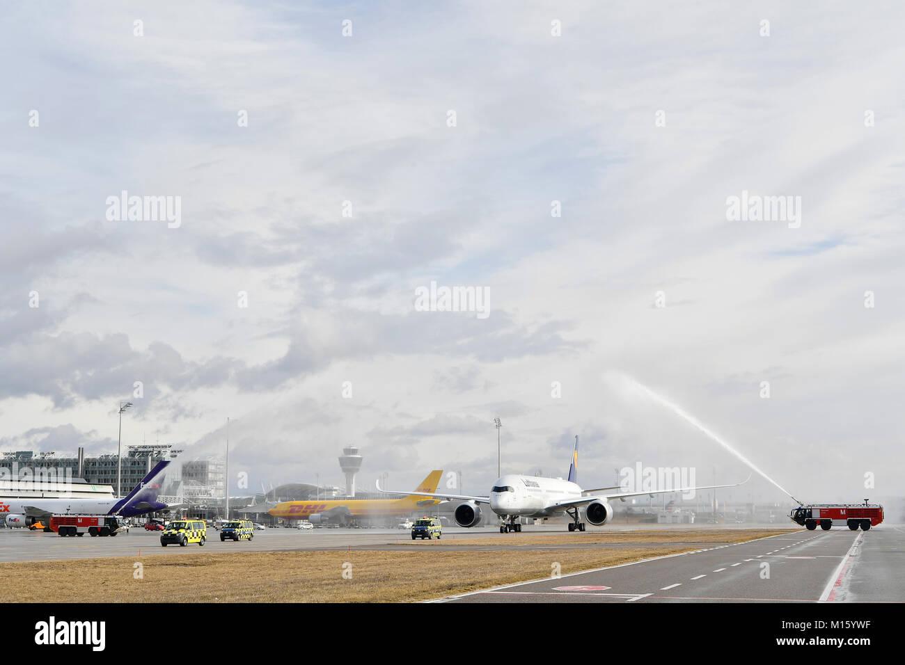 Water christening,maiden flight,Lufthansa Airbus A 350-900,Munich Airport,Upper Bavaria,Germany - Stock Image