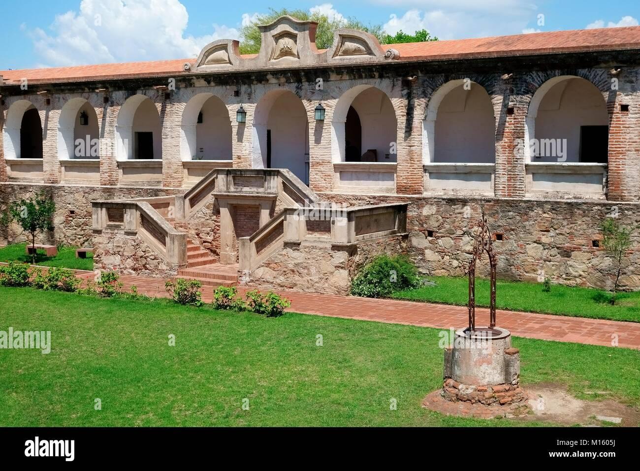 Arcade of Jesuit Mission,Museo Estancia Jesuitica,Alta Gracia,Province of Córdoba,Argentina - Stock Image