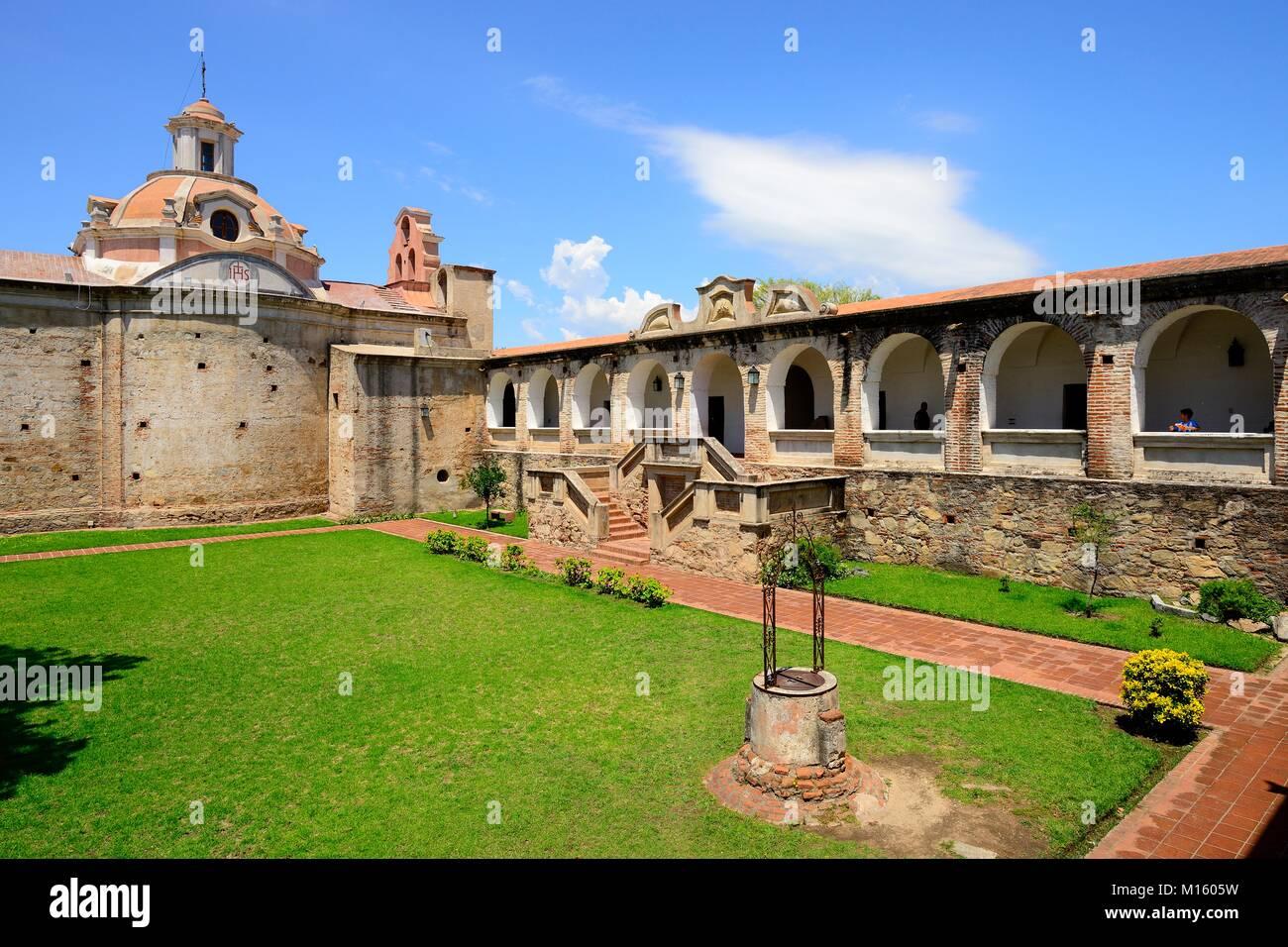Arcade and Church of the Jesuit Mission,Museo Estancia Jesuitica,Alta Gracia,Province of Córdoba,Argentina - Stock Image