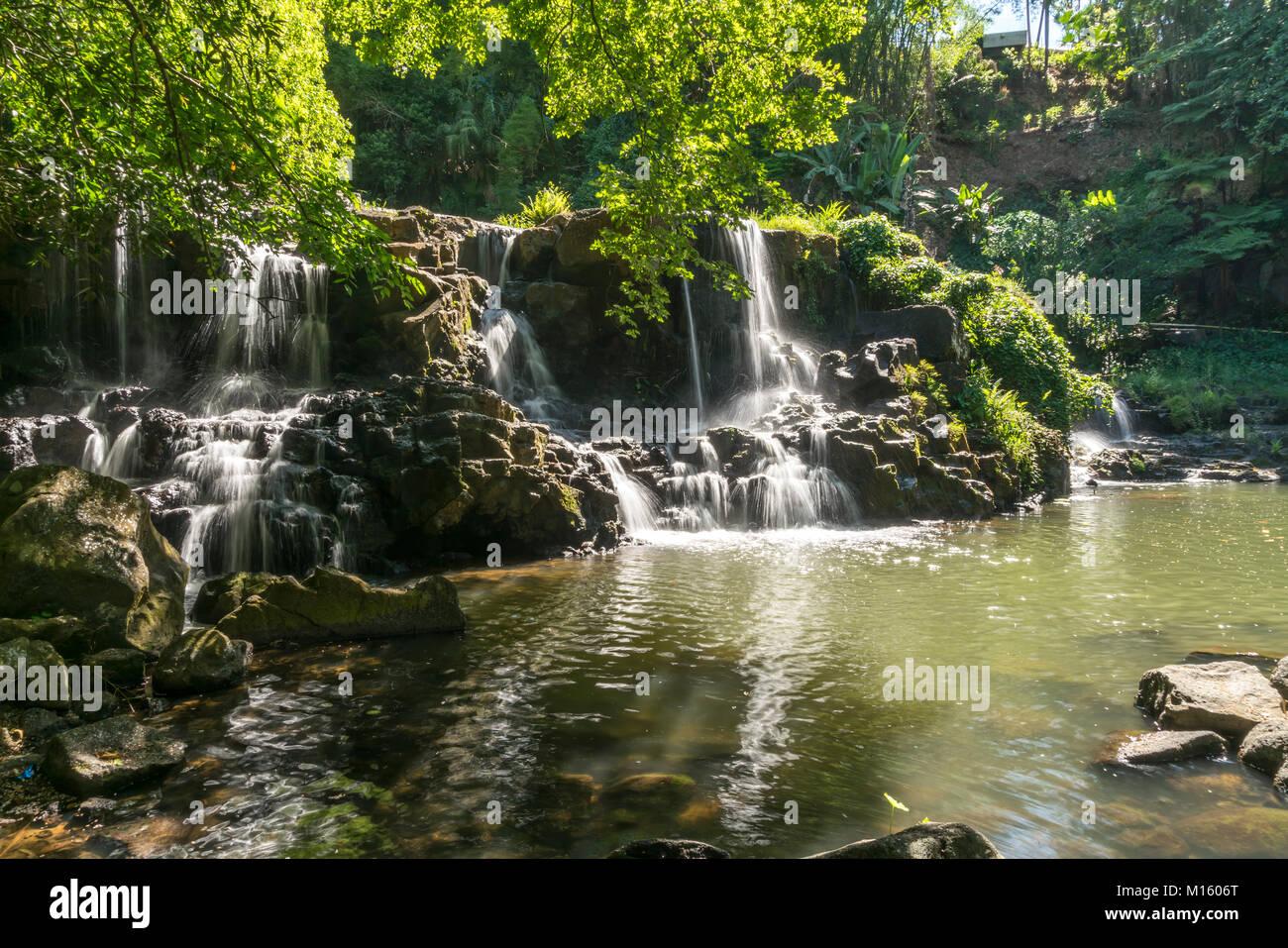 Waterfall in the park of Eureka House,Maison Eureka,Moka,Mauritius - Stock Image