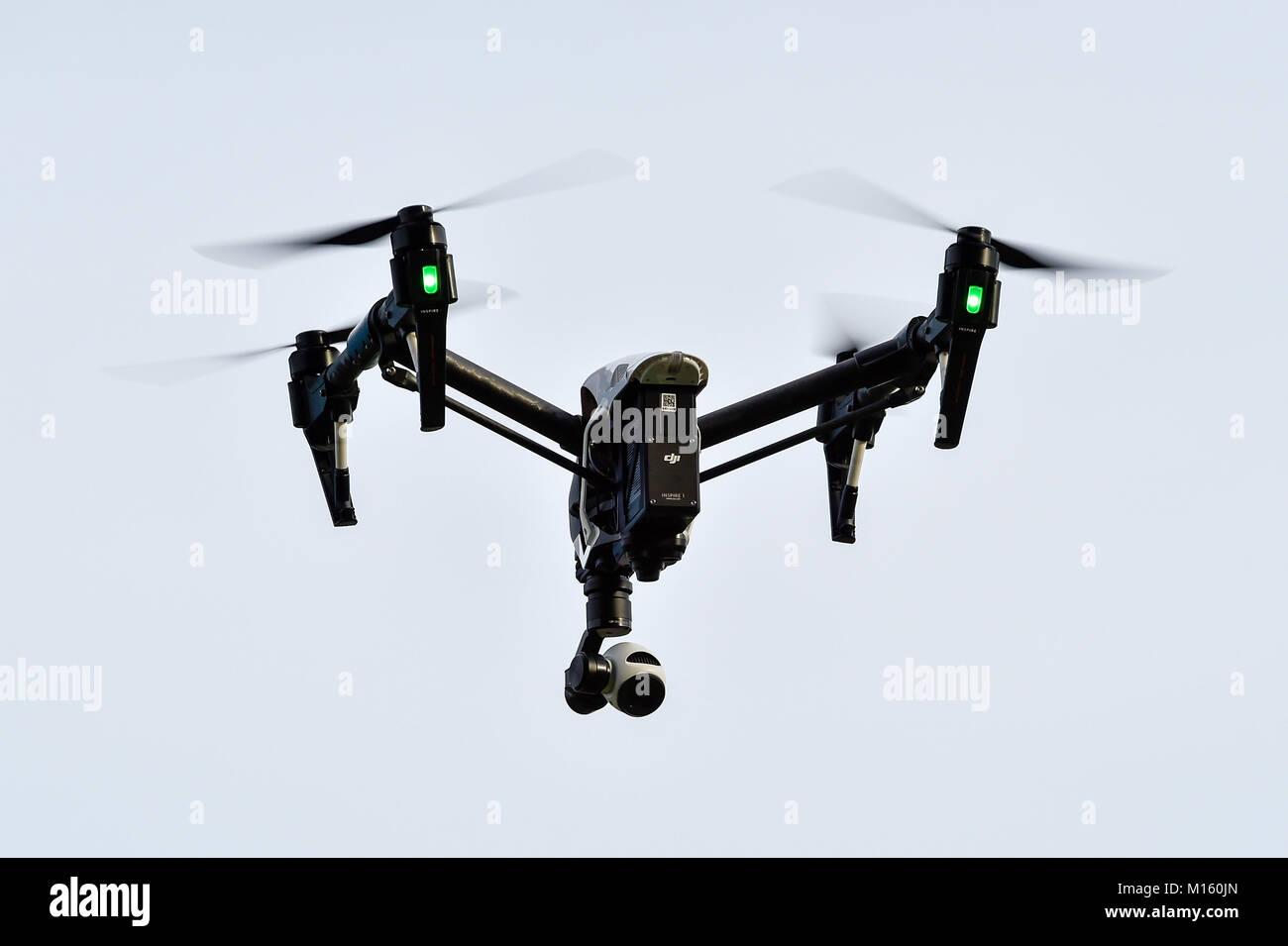 DJI Inspire 1 drone in flight - Stock Image