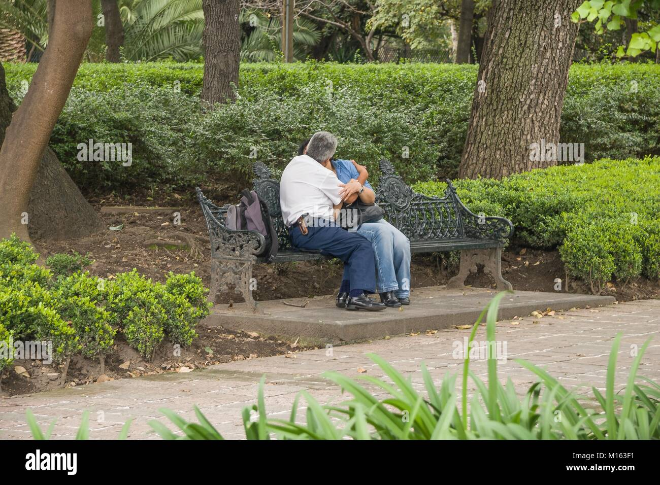 Couple of adults on a bench in a park in Mexico City. - Stock Image