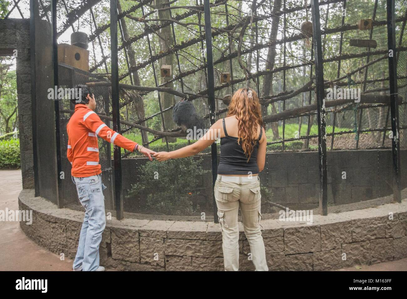 An couple of young lovers hold hands while enjoying a visit to a zoo in Mexico City. - Stock Image