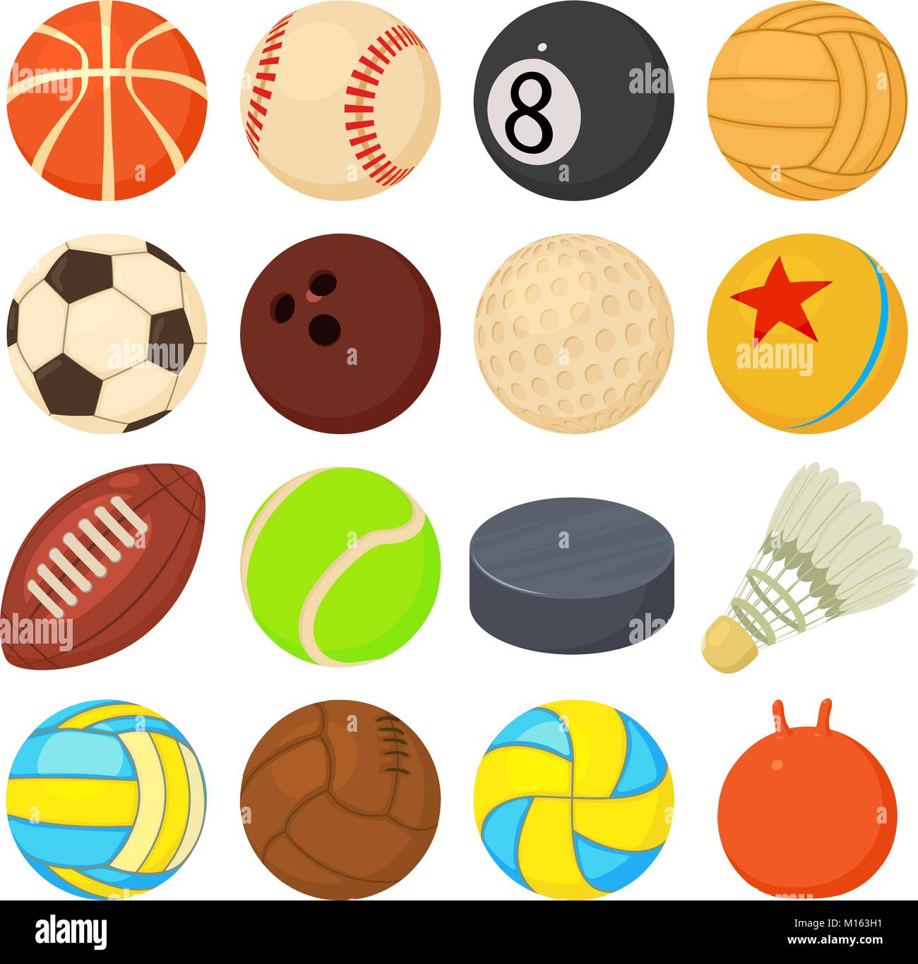 Sport Balls Icons Set Play Types Cartoon Style Stock Vector Image Art Alamy