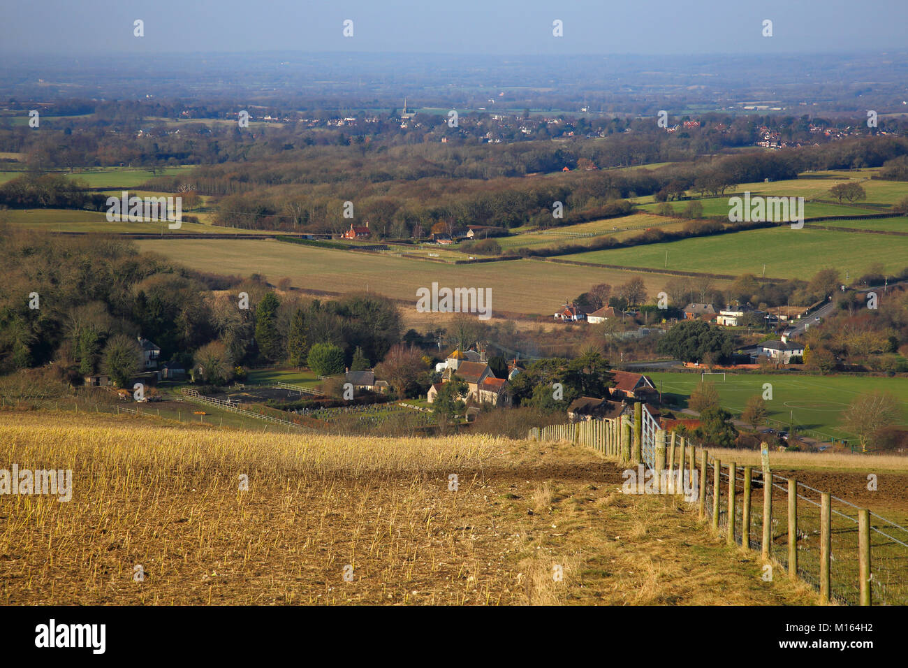 clayton village from the south downs - Stock Image