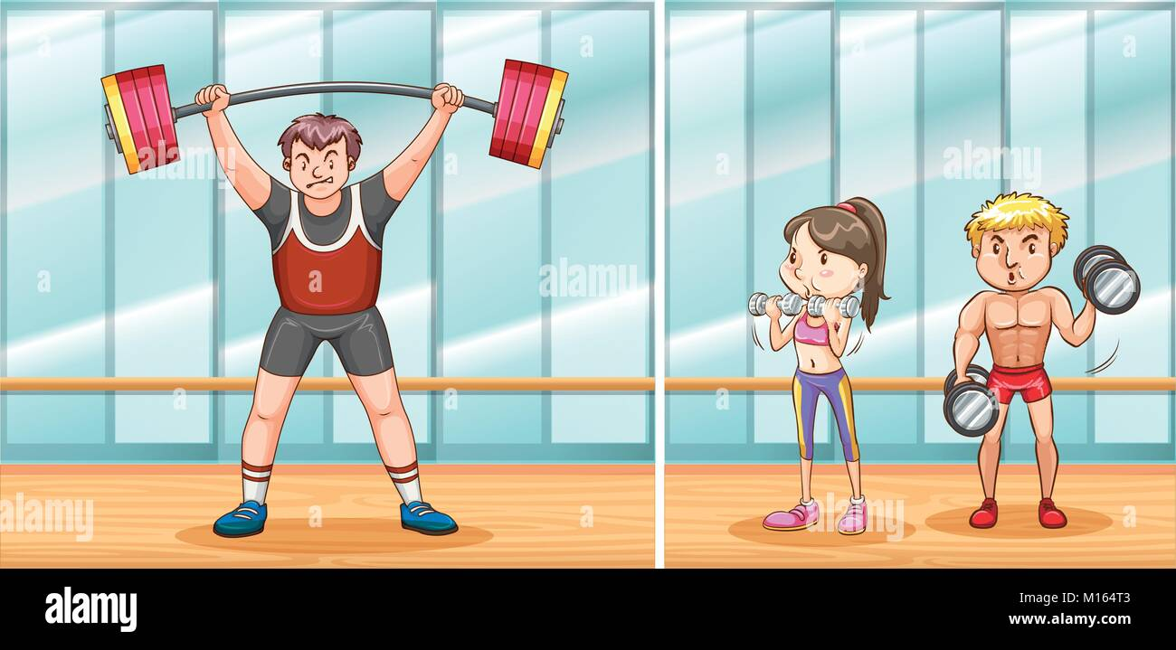 People working out in gym illustration - Stock Vector