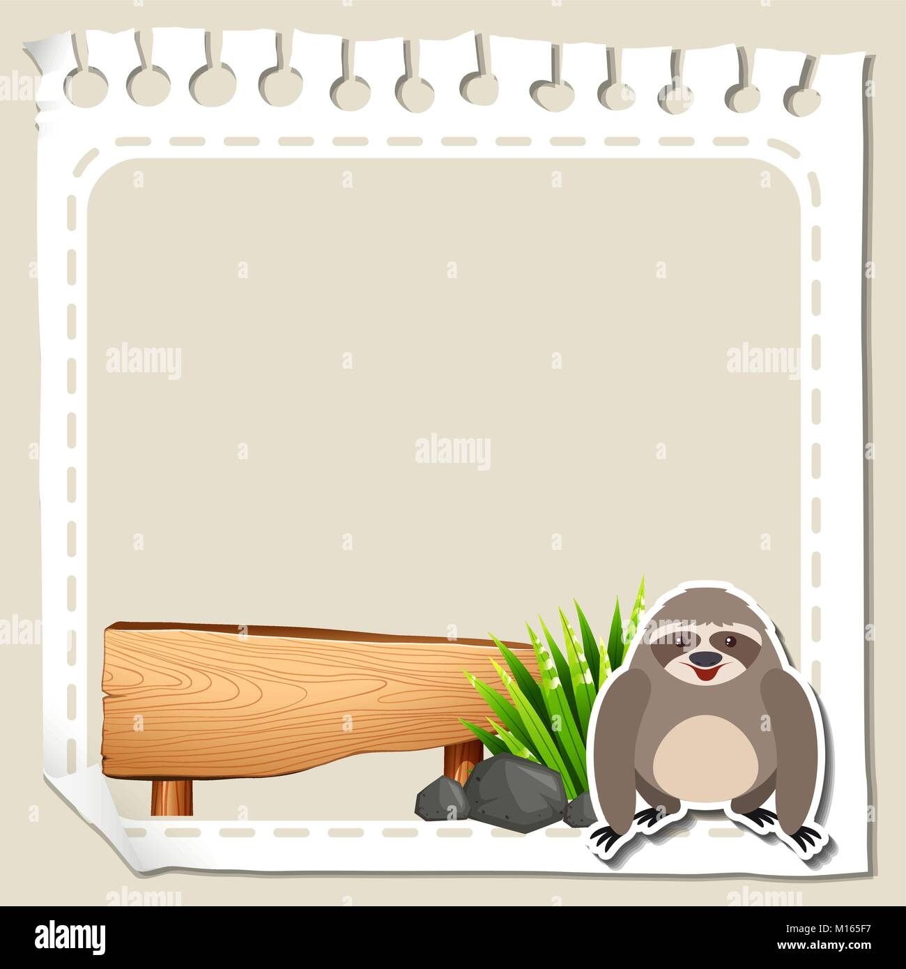 paper template with cute sloth illustration stock vector art