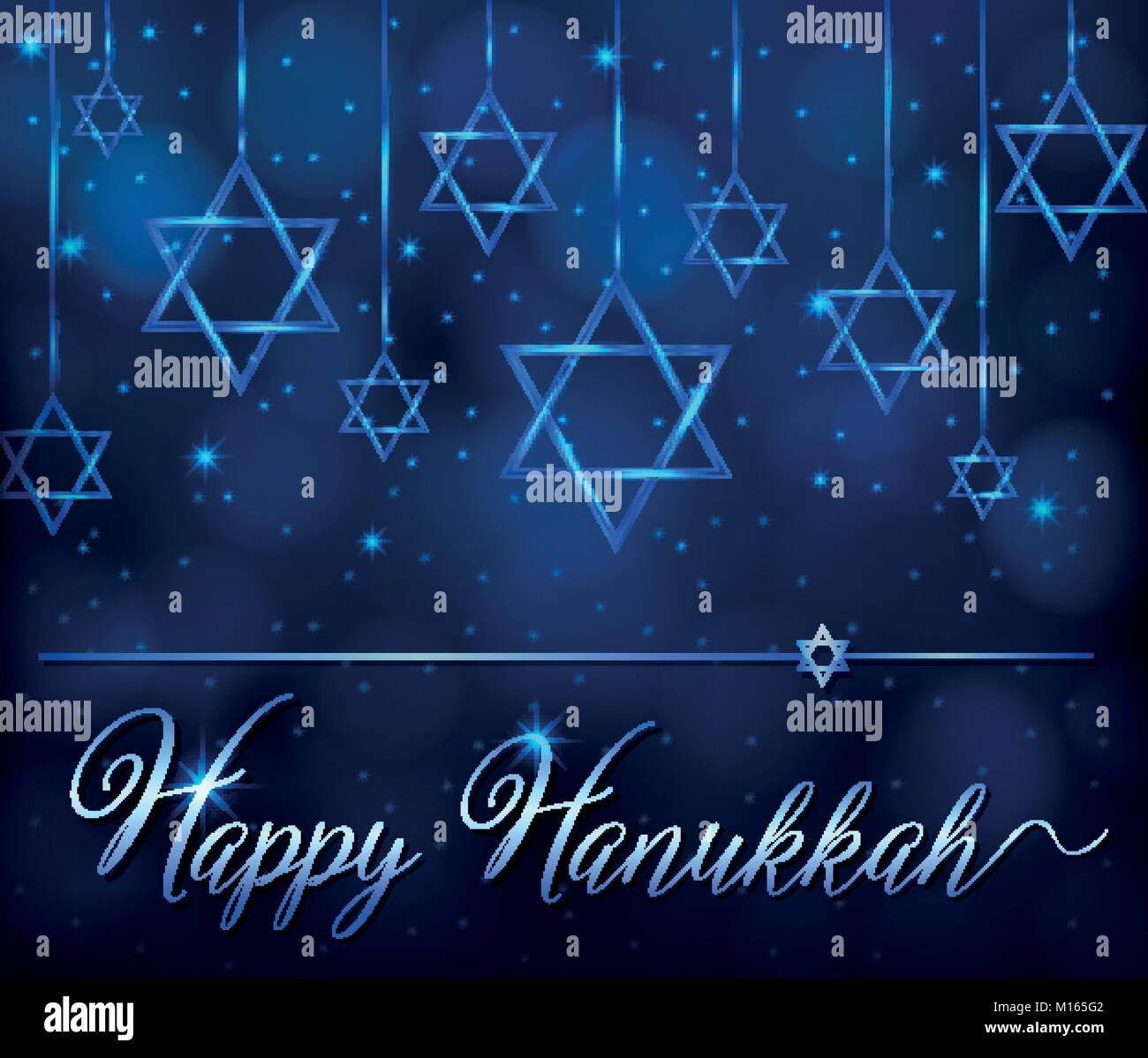 Happy hanukkah card template with blue star symbol illustration - Stock Vector