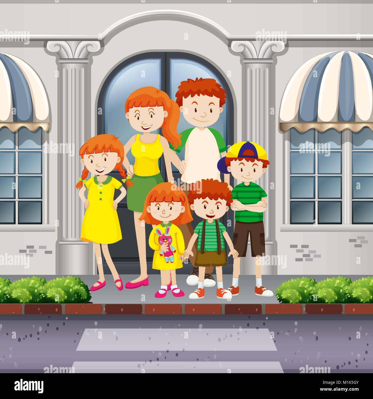 Family members standing on pavement illustration - Stock Vector