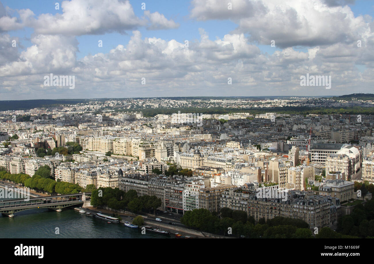 View of Paris west of the Eiffel Tower with part of Seine River's Pont de Bir-Hakeim bridge from the top of the Stock Photo