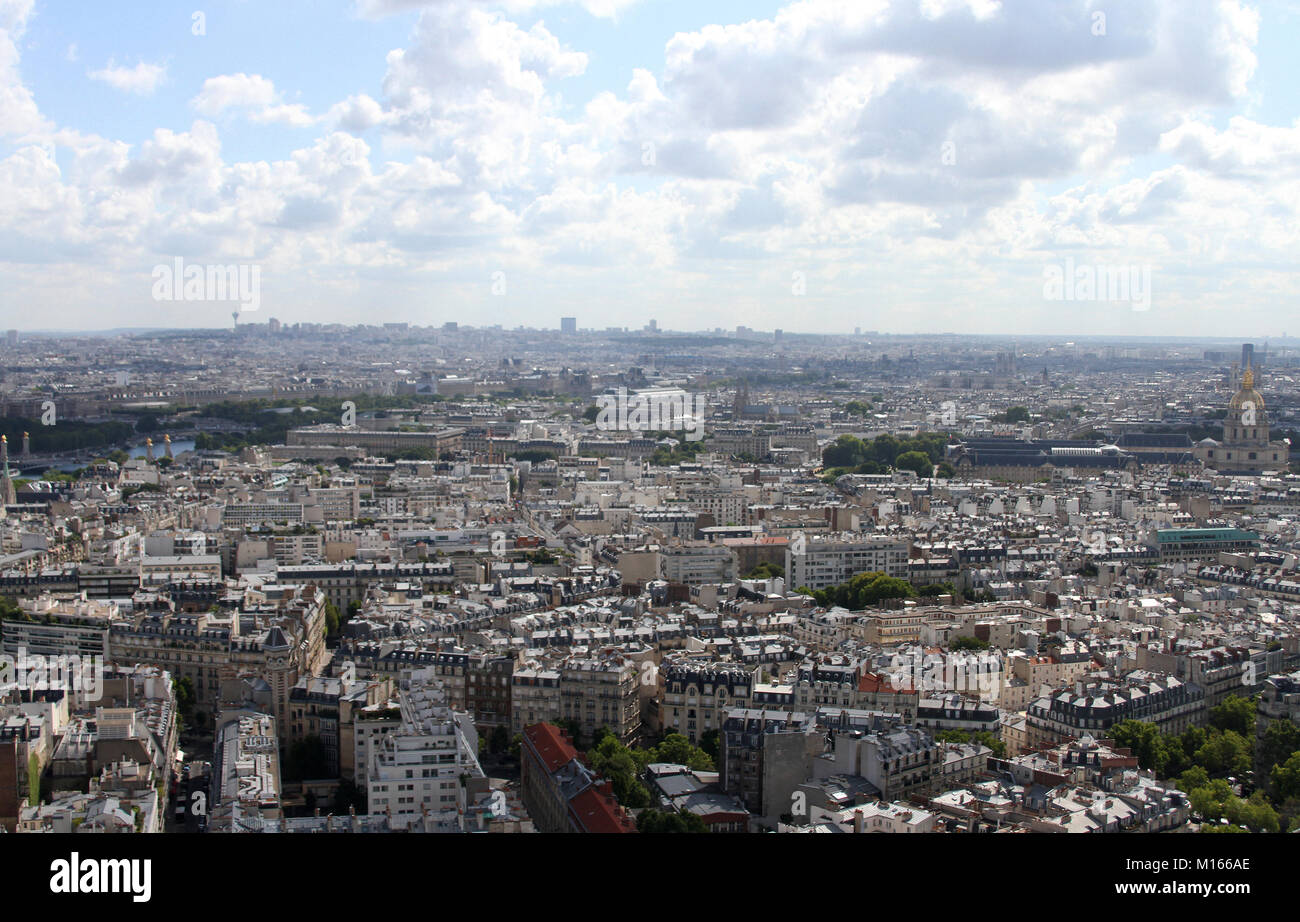 East view of Paris from the top of the Eiffel Tower, France. Stock Photo