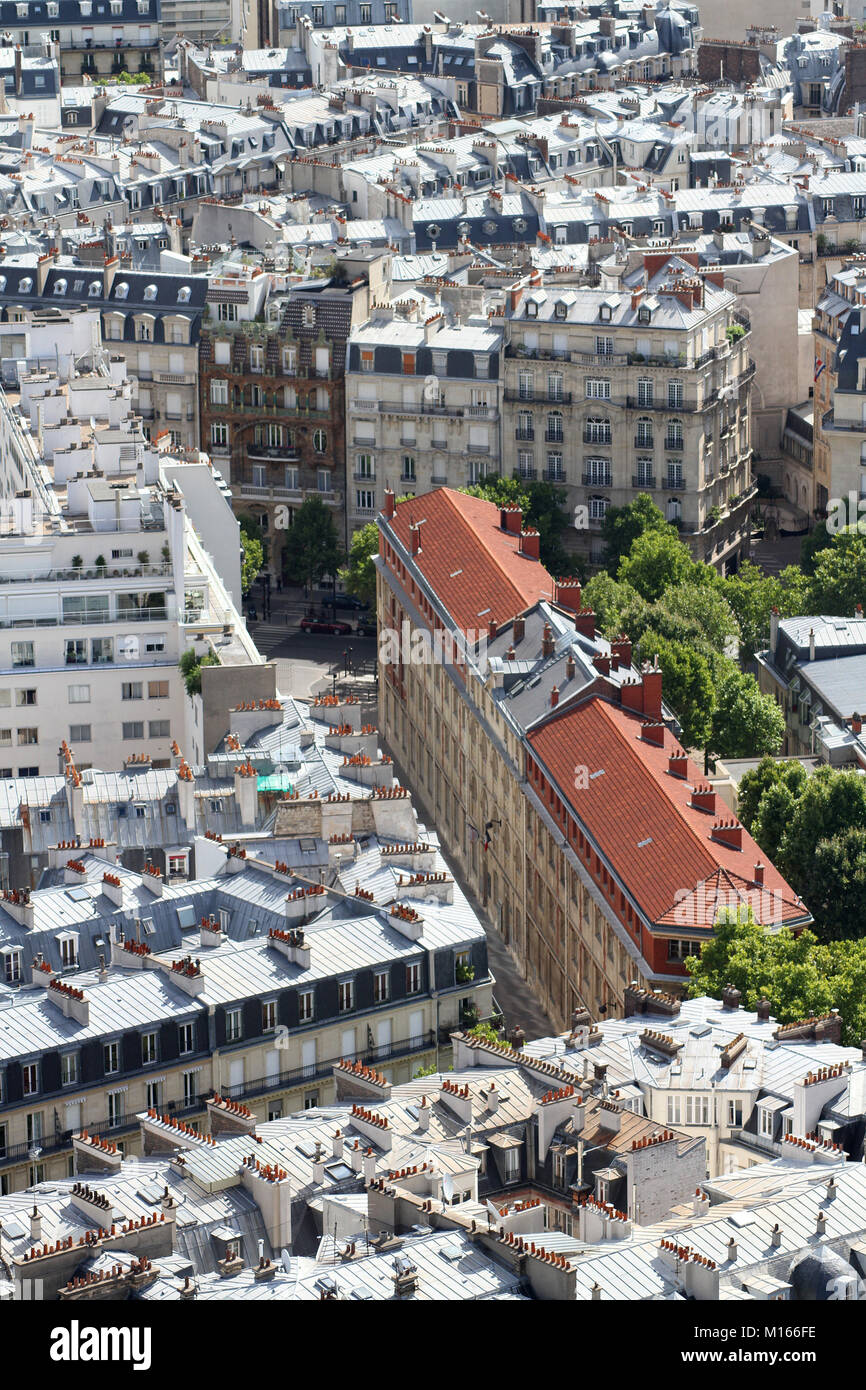 Close-up of some apartments East of the Eiffel Tower, Paris, France. Stock Photo