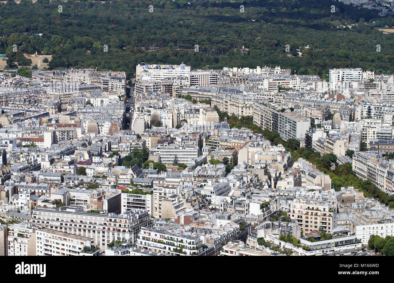 View of Paris from the top of the Eiffel Tower, Paris, France. Stock Photo