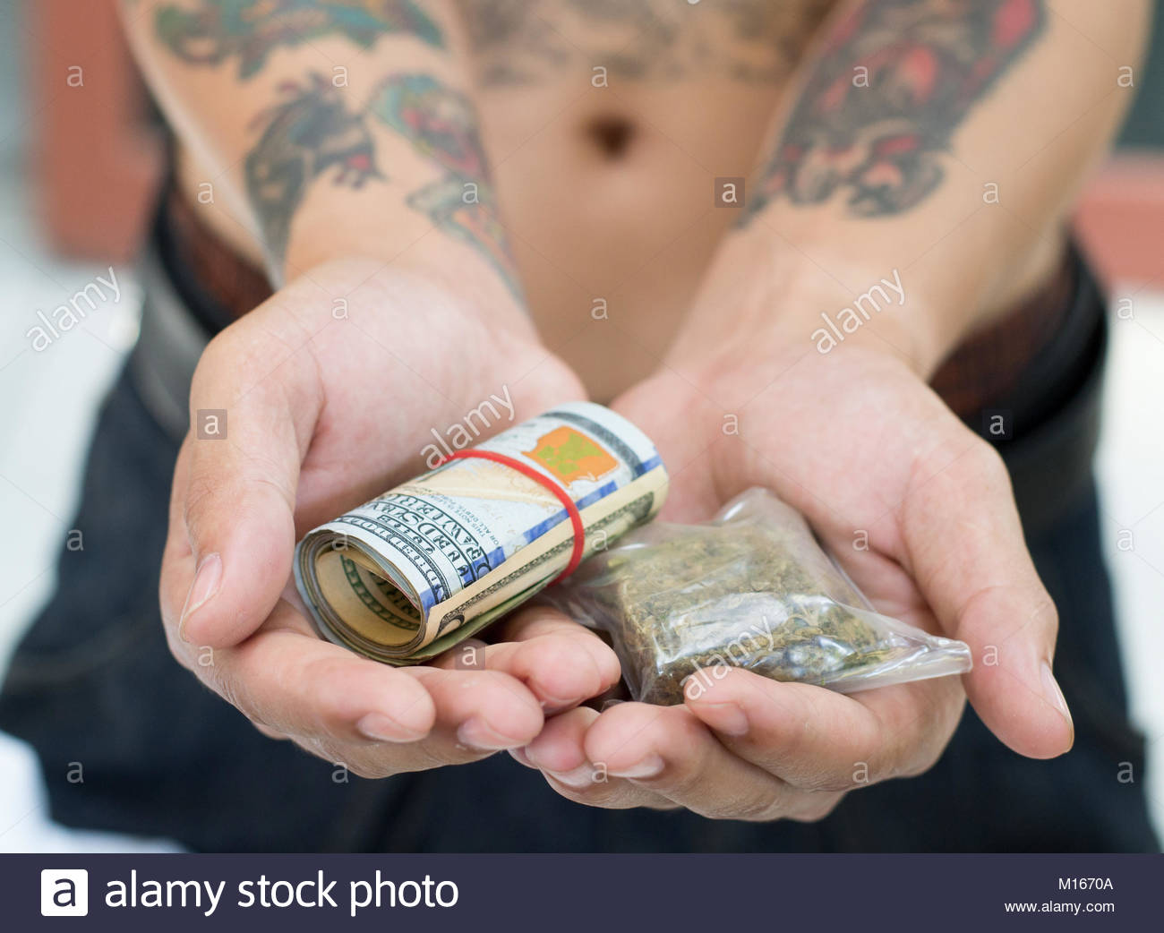 Drug dealer asking for money for narcotics and drugs. Drugs concept. - Stock Image