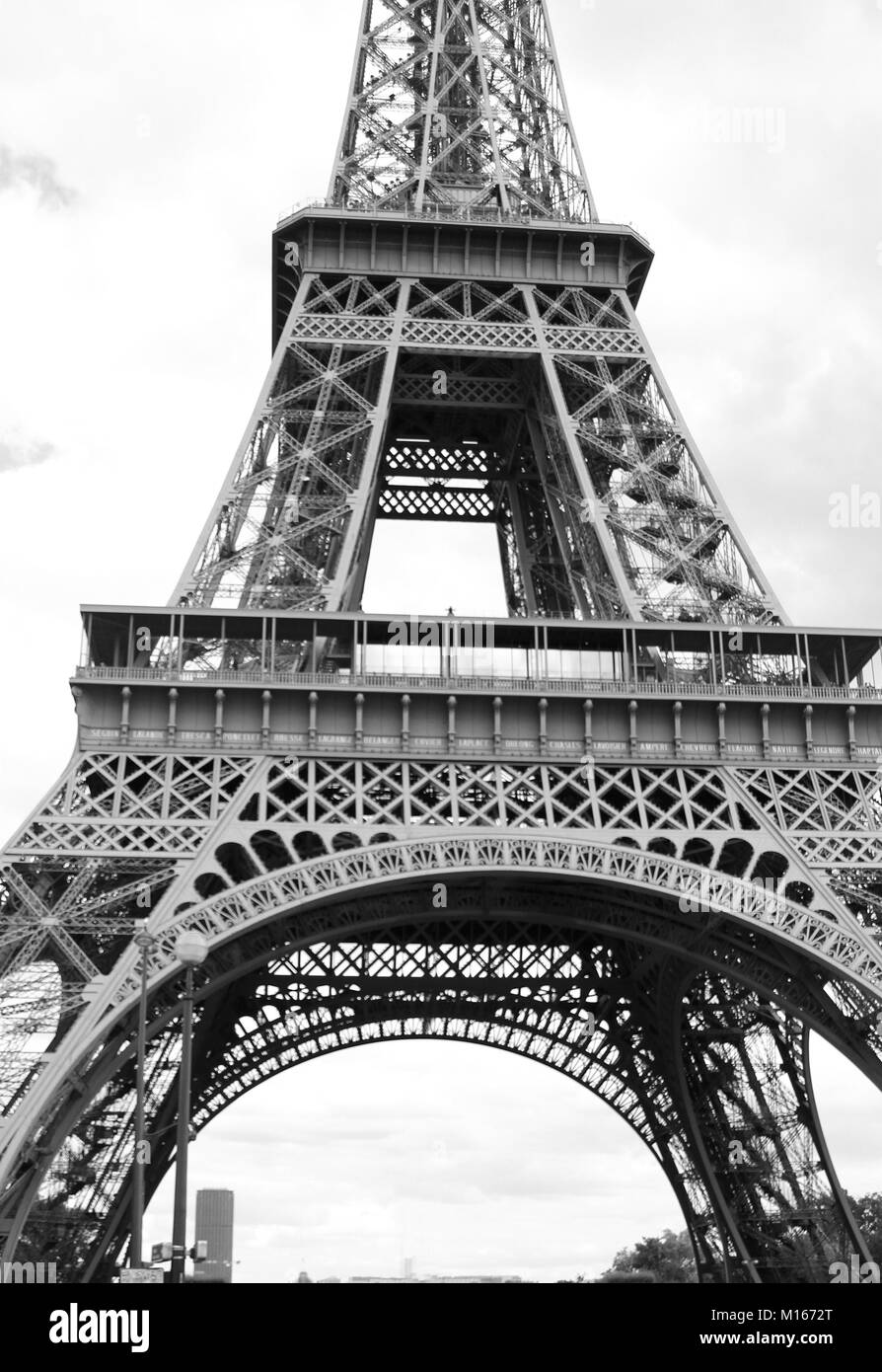 Black And White Close Up Of The Eiffel Tower Paris France Stock Photo Alamy