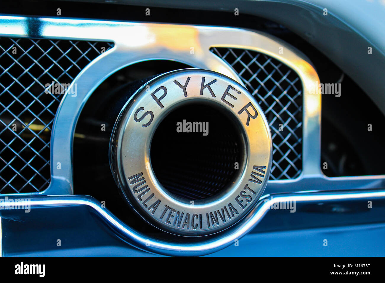 This is the exhaust of a Spyker C8 - Stock Image